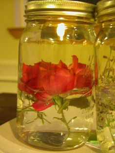 Mason Jar candles.  Would be lovely and simple center pieces.