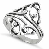 Sterling Silver Swirl Dots Ring