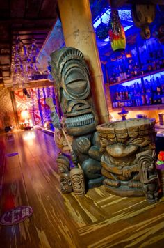 Great shots of home-made tiki bars