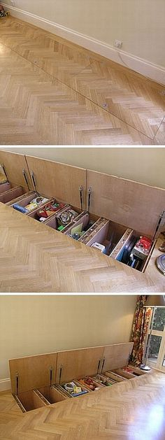 Bc you could never have too much storage! sub floor storage really clever and has got me thinking about different angles into this newtons challenge Tiny House Storage, Loft Storage, Diy Storage, Movie Storage, Creative Storage, Garage Storage, Bedroom Storage, Storage Shelves, Kitchen Storage