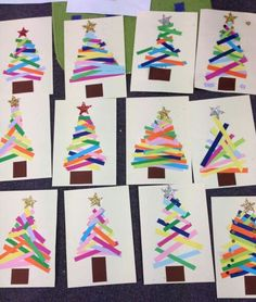 Easy Christmas trees made of color paper strips that you can do with the kids