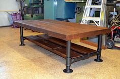 Industrial Barnwood Coffee Table with Steel by OcRusticWoodWorks $499