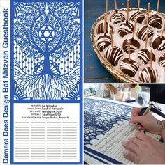 Cut paper Bar/Bat Mitzvah Guest book.