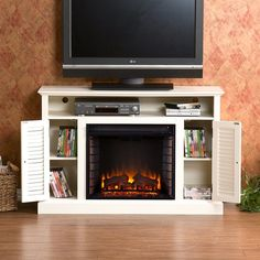 Boston Loft Furnishings 48-in W 4700-BTU Antique White Wood and Wood Veneer Fan-Forced Electric Fireplace with Thermostat and Remote Control
