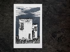This is an original, hand-pressed, linocut print on Fabriano Unica paper. I have hand-carved this stamp on a linoleum sheet and then handprinted on paper, using Cranfields Caligo Safe-wash Relief Inks. The print comes unframed and unmatted. Linocut Prints, Art Prints, Hand Carved, I Shop, Carving, Stamp, The Originals, Architecture, Handmade