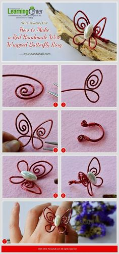 Wire Jewelry DIY - How to Make a Red Handmade Wire Wrapped Butterfly Ring from LC.Pandahall.com  #jewelrydiy #wireringsdiy