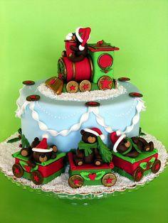 Christmas train cake by bubolinkata, via Flickr