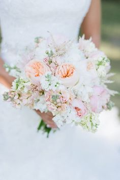 Spring wedding bouquet idea - peach and pink peonies and white delphinium {The Flower Girl}