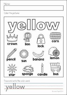 Write & Color: Yellow | Worksheet | Education.com