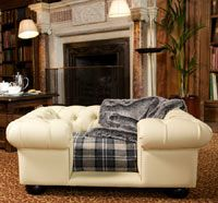 Balmoral Cream Faux Leather Dog Sofa