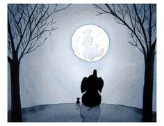 Under The Moonlight - 11x14 inch Signed Art Print - Elephant and Mouse under a full moon at night, blue nursery art, large print