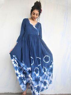 Blue Shibori Cotton Angrakha Style Dress with Gathers Stylish Dresses, Fashion Dresses, Long Dresses, Shibori, Saree Jacket Designs, Angrakha Style, Indigo Dress, Mood Indigo, Kurti Designs Party Wear
