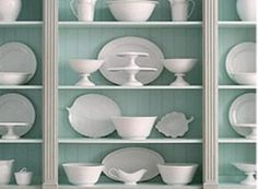Milk Glass Collection - Nicely displayed against the colored background.