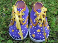 Customized Hand painted Shoes for Baby, Toddler Hand Painted Lace Up Oxford Style Purple Canvas Shoes Size 2 Infant With Yellow Stars!!! by UGOTMYFINGERPRINTS on Etsy