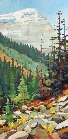 Original Acrylic painting by Artist Randy Hayashi - Landschaft Watercolor Landscape, Landscape Art, Landscape Paintings, Watercolor Paintings, Acrylic Landscape Painting, Mountain Landscape Drawing, Landscapes, Watercolor Painting Techniques, Mountain Paintings