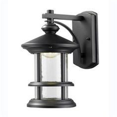 "Check out the Z-Lite 552S-BK-LED Genesis 6-1/8""W 12 Light LED Outdoor Wall Sconce in Black with Clear Beveled Shade priced at $124.00 at Homeclick.com."