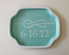 Tie the Knot wedding date valet  tray. $32.00, via Etsy. what a cute idea!