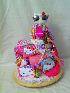 Big Sister 3 tier Towel cake  an adorable birthday by SquirmyWorms, $75.00
