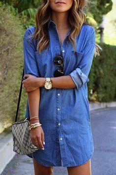 Single-Breasted Pocket Design Denim Dress  - Trendslove