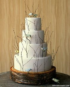my kinda wedding cake branches and birds!