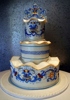 The Dalarna - Beautiful wedding cake decorated in the style of Swedish porcelain