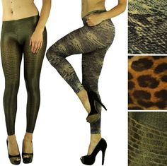 Pick A Sexy Opaque Shimmery Reptile Animal Snake Python Print Leggings Tights  #HO #Tights