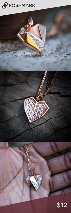 Mini rose gold plated heart necklace Mini rose gold plated heart necklace comes with a 1.5mm width 18,20,22,24,26 or 30 inch box chain. Chain is rose gold plated over 316 stainless steel. Pendant size is 12mm (small). Ts Verniel Jewelry Necklaces