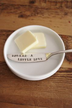 butter knife - Vintage Hand Stamped - Spread A Little Love(TM) - 2012 forsuchatimedesigns via Etsy.