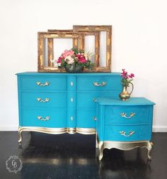 blue gold dresser - painted furniture #shabbychicdressersblue