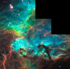 Star Cluster NGC 2074 in the Large Magellanic Cloud.  I always wondered what NASA was hiding when they blacked out those three squares.