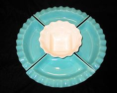 Vintage California Pottery Turquoise and White FivePiece by karl79, $12.00