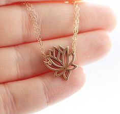 Lotus Necklace, Lotus Flower Charm, Double Strand Chain, Gold Filled Necklace, Delicate Necklace, Yoga Jewelry, Charm Necklace. $40.00, via Etsy.