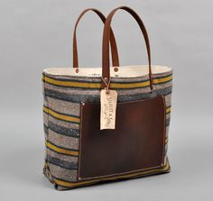 THE HILL-SIDE BLANKET LINING STRIPE TOTE, TAN / GREEN / YELLOW, HICKOREE'S EXCLUSIVE :: HICKOREE'S HARD GOODS