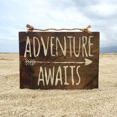 Adventure Awaits Wood Sign / Hippie Sign / Bohemian Decor / Bohemian Wall Decor…