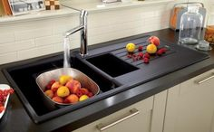 Lamona Black Granite Composite 1.5 Bowl Sink with Lamona Chrome Laveno Single Lever Tap