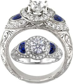 Engagement & The City | Halo Engagement ring Blue sapphire half moons