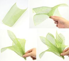 mesh sprays for mesh wreath: 10x10 squares, curly side up, pinch the middle, use two together