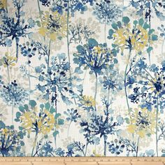 Swavelle/Mill Creek Hatherly Provence from @fabricdotcom  Screen printed on cotton duck, this versatile lightweight fabric is perfect for window treatments (draperies, valances, curtains and swags), accent pillows, duvet covers and light upholstery. Colors include white, taupe, yellow and shades of blue.
