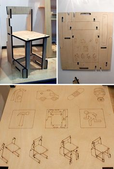 These laser-cut flat pack plywood furniture items are designed to be deployed quickly for emergencies, or shipped to places that need instant furniture. Cardboard Chair, Cardboard Display, Cardboard Furniture, Cardboard Crafts, Recycled Furniture, Folding Furniture, Space Saving Furniture, Furniture Plans, Cool Furniture