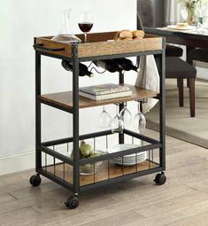 Wheeled Kitchen Cart Rustic Bar Serving Storage Shelf Wine Rack Glass  Holder New #SmartDealsMarket