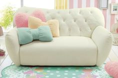 Tufted white couch with pink, yellow and blue bow pillows for little girls room Bow Pillows, Cute Pillows, Teenage Girl Bedrooms, Girls Bedroom, Bedroom Ideas, Bedroom Designs, Bedroom Couch, Bedroom Decor, Kawaii Bedroom
