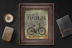 Never stop exploring. Instant download print. PDF JPG diy printable. Bike. Adventure. Nature. Trees. Mountain. Wall art. Home decor. Poster.