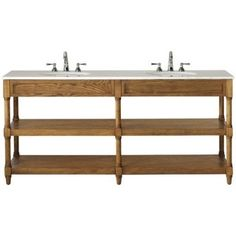 Montaigne Weathered Oak Finish Double Bathroom Vanity with Two Open Shelves and White Natural Marble Top | Overstock.com Shopping - The Best Deals on Bathroom Vanities
