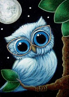 TINY BABY BLUE OWL NEW EYE GLASSES - by Cyra R. Cancel from DECORATION ART GALLERY