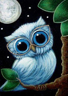 Detail Image for art TINY BABY BLUE OWL   NEW EYE GLASSES