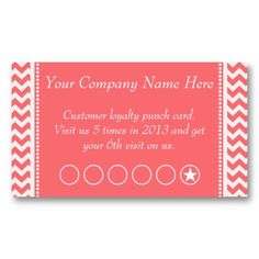 Rose Pink Chevron Discount Promotional Punch Card  Promote your business with this trendy girly pink rose and white chevron pattern business card and discount/promotion coupon punch savings card in one. Hit the customize and personalize this card to make it your own. great for Hair - beauty Salons