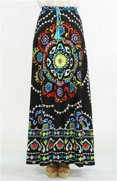 S-M-L Stained Glass Extravaganza Maxi Skirt-Flying Tomato-Black Multi #FlyingTomato #MaxiSkirt