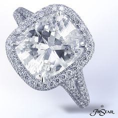 JB Star Cushion cut diamond in pave split shank mounting.  Available at Alson Jewelers.