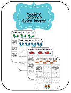 Reader's Response Choice Boards Differentiated Learning from Sweets n Treats on TeachersNotebook.com (8 pages)