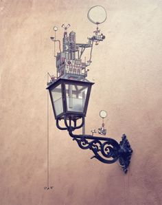 Lampa By Johan Thörnqvist    His signature is drawing imaginary cities over real life photography. Such a simple concept, but so well executed here. Love it!